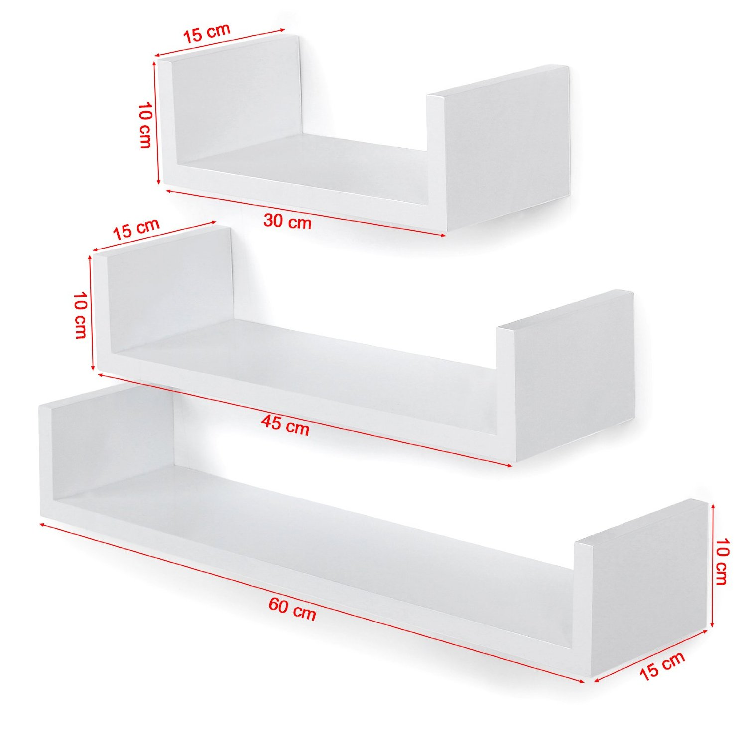 Lot De 3 Tag Res Murales Blanc Design Pyramide Packtoo